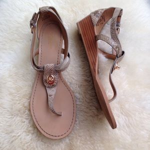 Coach Ingrid t-strap leather embossed sandals tan